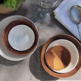 Schalenset (je 3): Olivenholz & Bone-China-Porzellan, by: Castel Franc, Provence