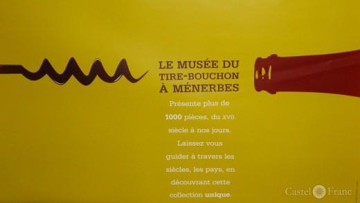 "Plakat zum ""Musee du Tire-Bouchon"" in Ménerbes"