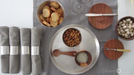 versilbertes Tablett, Schale und Serviettenringe; Castel Franc/ Provence cadeaux