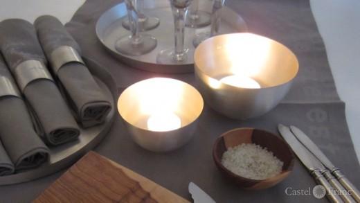 versilberte Schalen als Tischlichter; by: Castel-Franc /Provence / Geschenke