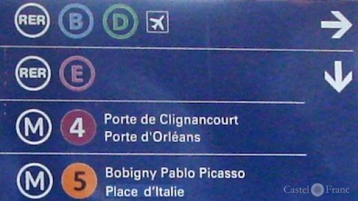 RER/ Metro Hinweistafel, Paris, Gare du Nord
