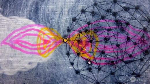 """Farbradierung """"Vinci_5"""" von Gabi Wagner, by: castel-franc.com/shop"""