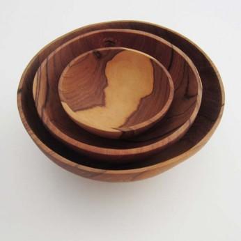 Schalenset (3) aus Olivenholz, handmade by: Castel Franc, Provence