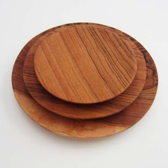 Set (3) vom Tellern aus Olivenholz, handmade by: Castel Franc, Provence
